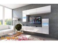 "FURNITURE TV Unit Cabinets Gloss Wall Unit ""C 31 VERDE"" LED lights Living Room"