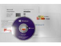 Windows 10 Professional 64Bit OEM DVD Disc & COA License - System Builder Pack
