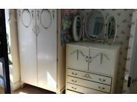 vintage shabby chic louiewardrobe chest drawers tall boy