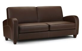 Beautiful Faux Leather 3 Seater Sofa in Chestnut Ex Display