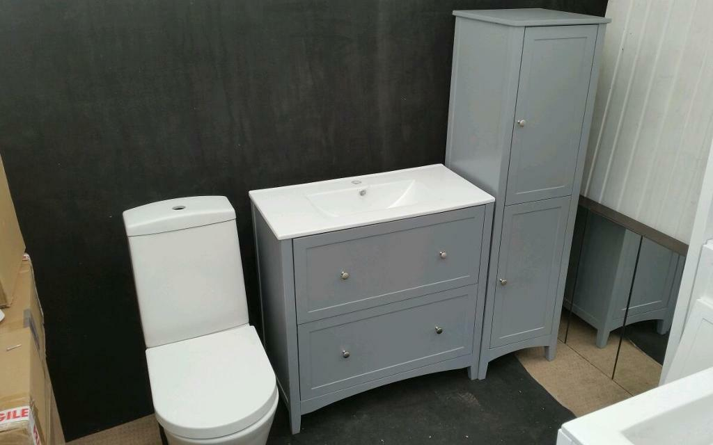 Traditional 800mm Grey Vanity Unit Basin Storage Unit And Wc Bathroom Suite In Wrenthorpe