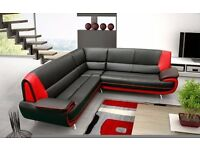 **FREE DELIVERY** BRAND NEW CAROL 3+2 or CORNER SOFA SUITE IN BLACK, RED , WHITE PU LEATHER SEATER