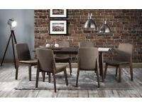 *FAST & FREE UK DELIVERY* Brand New Walnut Veneer Extending Dining Table with 4 / 6 Fabric Chairs