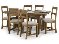 *FAST & FREE UK DELIVERY* Brand New Classic Rusted Solid Pine Wood Dining Table Set & Fabric Chairs