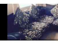 LARGE black n cram corner sofa.....