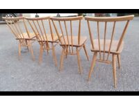Vintage Retro Wooden Ercol 1660 Kitchen Dining Stick Back Chairs,Blue Label,We Can Deliver