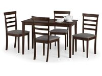 *FAST & FREE UK DELIVERY* Brand New Mahogany Hardwood Dining Table Set with 4 Fabric Cushioned Chair