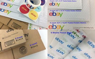 Ebay Branded Shipping Supplies Kit Lot Boxes Padded Envelopes Tape Tissue 43 Ct