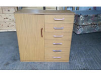 Teak Veneer Cupboard with Drawers