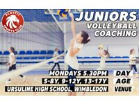 Kids volleyball sessions on Mondays in Wimbledon London