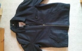 Mens Black Heavyweight Leather Jacket - Size XL