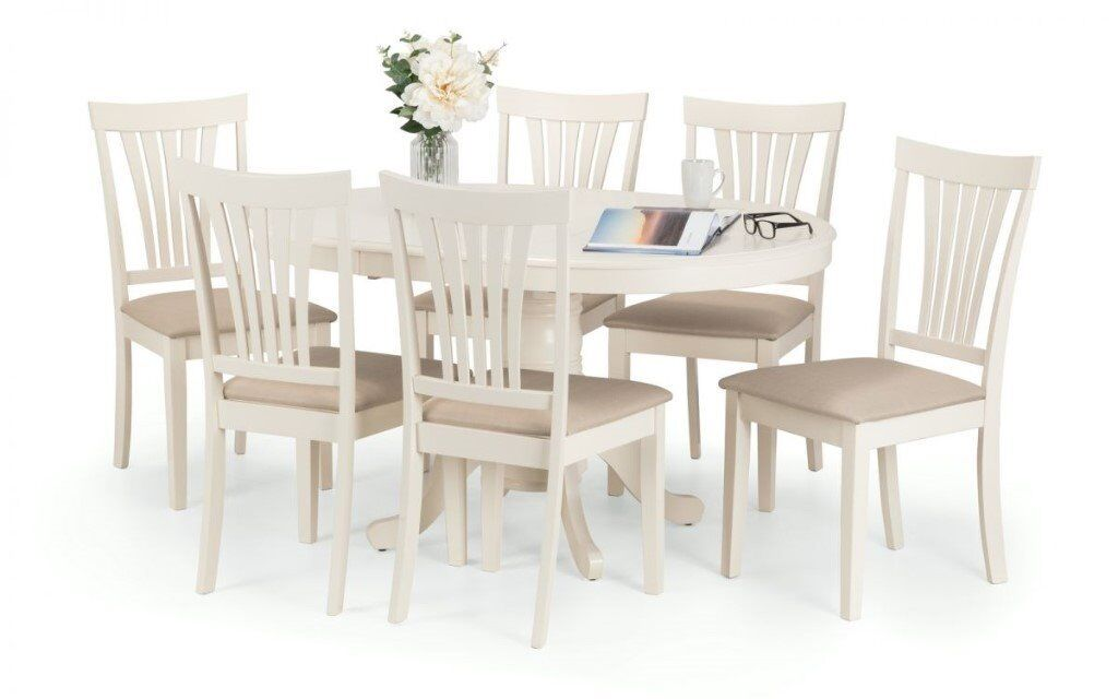 Stamford Light Cream Round To Oval Extending Dining Table 6 Chairs New