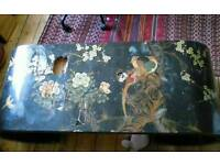 Chinese Chinoiserie Black Laquerwork scroll table project