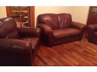 2 Seater Sofa & 2x Chairs Real Leather CAN DELIVER