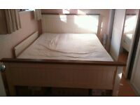 King size wooden bed + side tables + matress, will deliver within 10miles