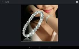 Roman style women 925 sterling silver crystal diamond bracelet brand new