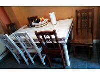 Wood table with 6 chairs