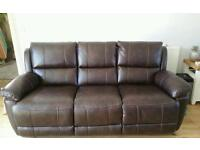 2 x 3 seater reclining couch