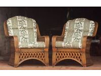 Wicker seats. Large pair of Conservatory Chairs with cushions. FREE LOCAL DELIVERY