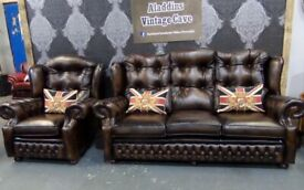 Stunning Refurbished Immaculate Chesterfield 3 Seater Sofa & Chair in Brown Leather - UK Delivery