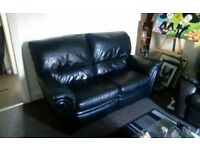 leather two seater recliner sofa ,black,good condition £80.00 ono
