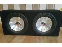 2 x 12 inch MTX audio subwoofer subs car sound system bass audio in box