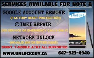 SAMSUNG GALAXY NOTE 8 *NO SERVICE* *UNREGISTERED SIM* *NETWORK FIX* | GOOGLE ACCOUNT REMOVE | SPRINT & T-MOBILE UNLOCK