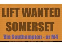 Lift Brighton to Somerset - for Urgent Reason - see Text