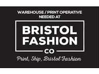 Warehouse / Print operative wanted - Full training given - Based In Kingswood, Bristol