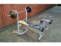 Bench press with 65kg cast iron weights and barbell
