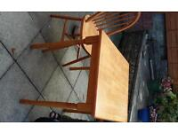 Small pine dining table plus chair