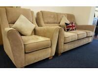 3 & 1 seater mushroom coloured sofa and armchair