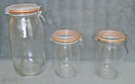 3 VINTAGE CLEAR GLASS KILNER JARS LARGE SIZE 3 LITRE 2 X 1 LITRE ARC GLASS FRANCE AIR TIGHT STORAGE