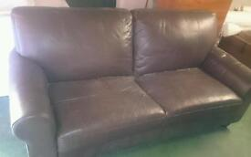 Brown leather sofa 2 seater