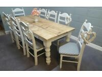 Magnificent 7ft Rustic Shabby Chic Bespoke Table Set - Newly Refurbished