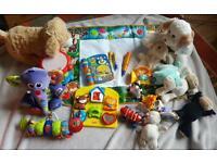 Bundle baby children's toys. Lamaze. Fisher price. Aqua doodle. Vtech. Drum. Soft toys