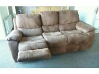 Suede Leather Recliner Settee