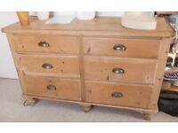 Vintage stripped pine set of drawers