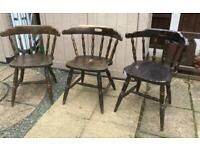 Set of 3 vintage strong sturdy pub chairs ideal man cave