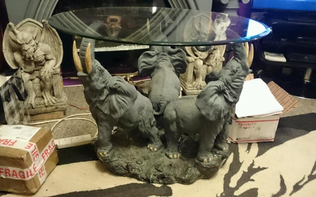 Unusual 3 Elephant Coffee Table Glass Top