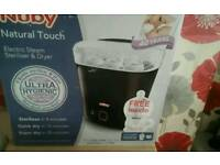 nuby electric steam sterilizer and dryer and 2 boxes botlles (brand new boxes receipt)