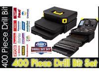 400 Piece Drill bit SCREWDRIVER BIT SET HSS ORGANISER STORAGE CASE & BITS DEWALT MAKITA BOSCH NEW