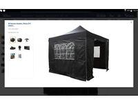 All Seasons Gazebo,Heavy Duty,Fully Waterproof,With 4 x Zip Up Side Panels+carry bag(Black, 3m x 3m)