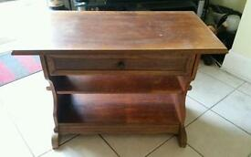 TV Table in Wood with swivel top and opening drawer