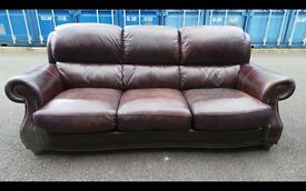 Burgundy/Brown Large Chesterfield Style Sofa,Can Deliver