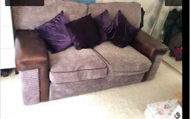 Brown Sofa & Pouffe