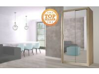 Lux 120 2 Door Sliding Wardrobe in white full Mirror wenge black grey oak sonoma san remo