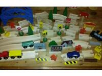 Wooden toy lot including train track set