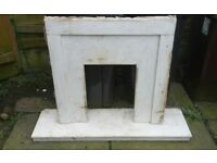 White Marble Fire Surround And Hearth (Broken) Plz See Pics