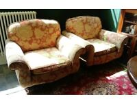 RETRO/VINTAGE STYLE LARGE MATCHING FABRIC ARM CHAIRS IN EXCELLENT CONDITION LOCAL DELIVERY POSSIBLE